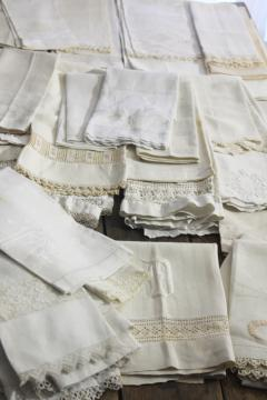 lot of 50 antique linen huck towels, collection vintage farmhouse linens w/ fancy work