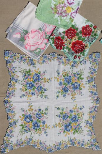 lot of 50 vintage flower print hankies, printed cotton handkerchiefs, all florals