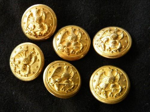 lot of 6 WWII vintage brass US Navy uniform buttons w/eagle & anchor