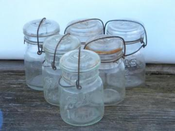 lot of 6 antique 1 pint Ball & Atlas glass mason jars, 1908 vintage