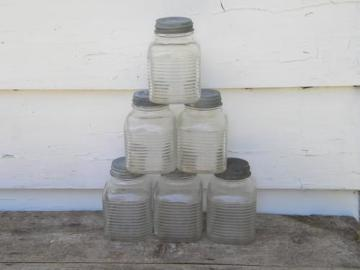lot of 6 hoosier vintage storage jars/dry goods canisters w/zinc lids