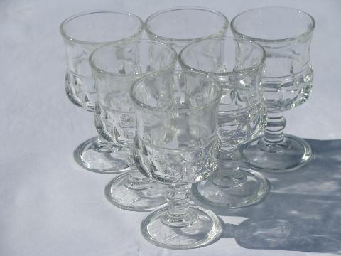 lot of 6 king's crown pattern sherry wine / cordial glasses, vintage stemware