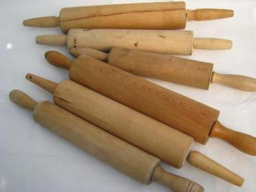 lot of 6 vintage wood rolling pins from old farm kitchen