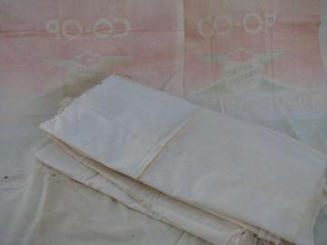 lot of 8 old feed sack bags, vintage cotton fabric seed sacks