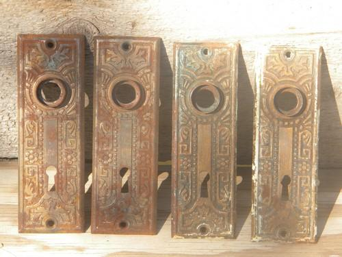 Lot Of Arts U0026 Crafts Vintage Embossed Escutcheon Plates/door Knob