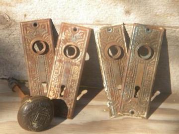 lot of Arts & Crafts vintage embossed escutcheon plates/door knob