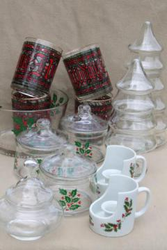 lot of Christmas glassware - Houze glass tumblers, holly candy dishes, Christmas tree jars