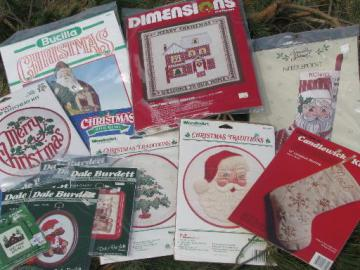 lot of Christmas needlework kits, needlepoint stockings, Christmas ornaments