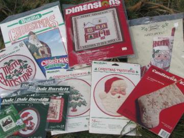 lot of Christmas needlework kits, needlepoint stockings, Christmas ornaments