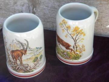 lot of Corzelius german stoneware beer mug steins, deer and mountain goat