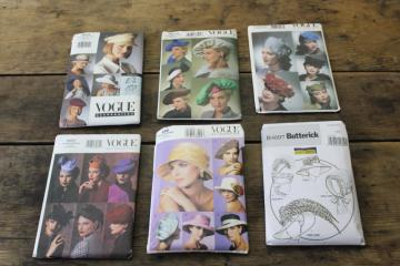 lot of Vogue sewing patterns, ladies hats, vintage style millinery