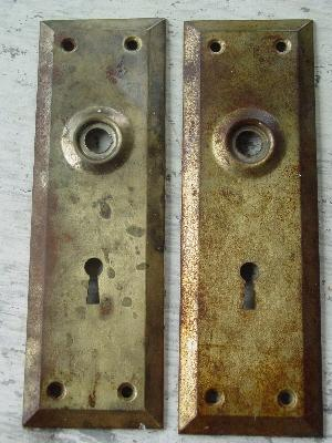 lot of antique Arts and Crafts doorknob escutcheon backplates