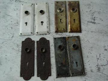lot of antique Arts and Crafts doorknob escutcheon backplates