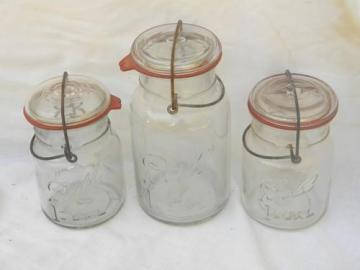 lot of antique Ball Ideal canisters jars w/lightning lids and 1908 patent