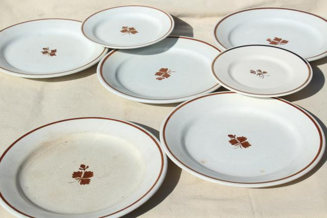 lot of antique Tea Leaf white ironstone china plates, 1800s vintage