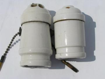 lot of antique architectural white porcelain pendant light/lamp sockets w/pull chains