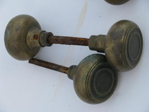 Lot Of Antique Arts And Crafts Vintage Solid Brass/bronze Door Knobs,  Vintage Architectural Salvage