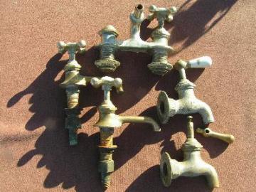lot of antique brass faucet parts