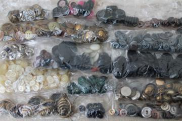 lot of antique buttons, sorted button collection for sewing, jewelry crafts, altered art