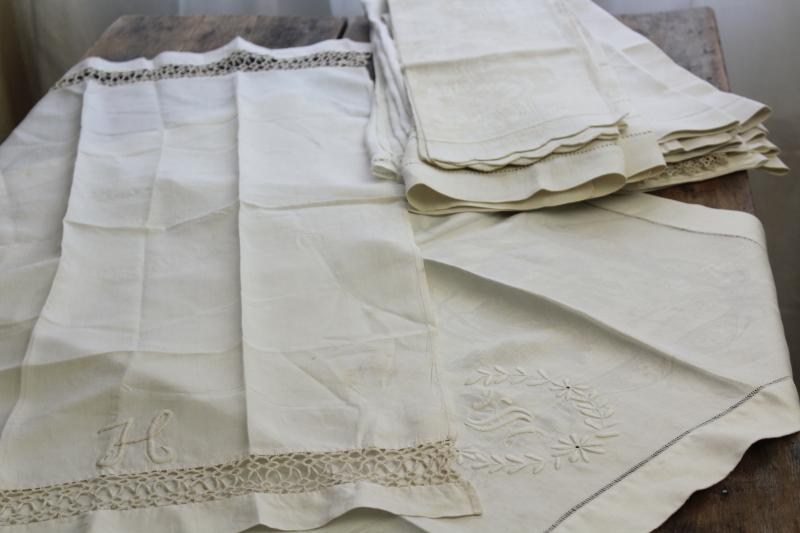 lot of antique linen damask bath towels, embroidered monograms & lace, drawn thread