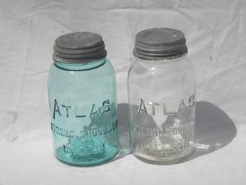 lot of antique mason jars for kitchen storage canisters, aqua blue