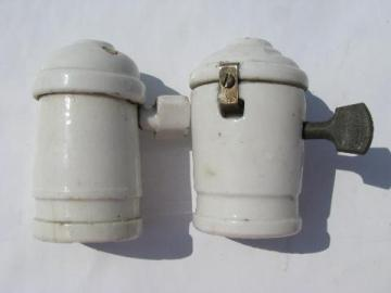 lot of antique porcelain shell electric pendant light/lamp sockets w/turn key paddle switches