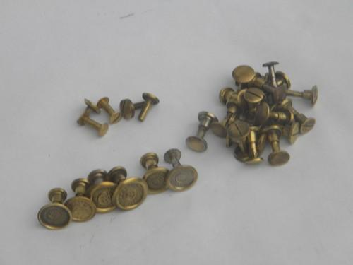 lot of antique solid brass saw bolts & nuts, vintage handsaw hardware