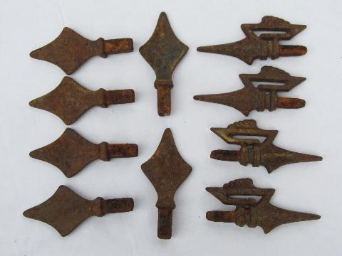 Lot Of Antique Vintage Cast Iron Curtain Rod Finials