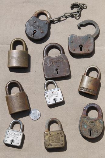 lot of antique vintage padlocks assorted old brass iron