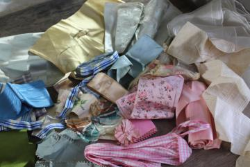 lot of antique & vintage silk ribbons, crazy quilt scraps or project bundle