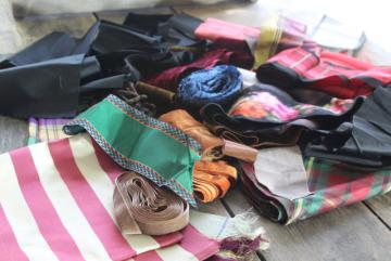 lot of antique & vintage silk & velvet ribbons, crazy quilt scraps or project bundle