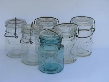 lot of assorted antique 1 pint canning jars with glass & wire lids