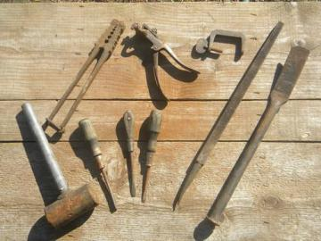 lot of assorted primitive old tools saw setter, tubing clamp tool etc
