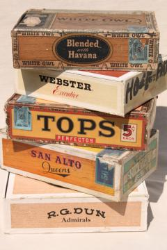 lot of assorted vintage cigar boxes, cigar box collection w/ old tobacco advertising