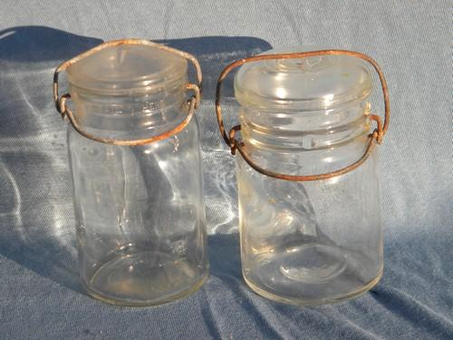 lot of assorted vintage glass storage jars or kitchen/pantry canisters