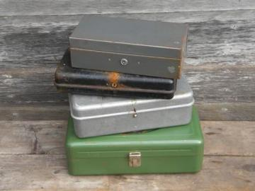 lot of assorted vintage industrial steel tool and document storage boxes