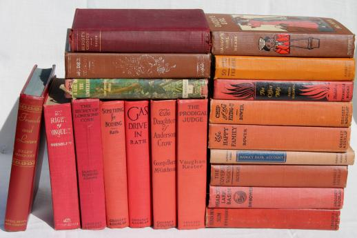 lot of beautiful old books w/ colored cloth bindings, collection of vintage novels