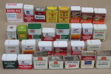 lot of collectible vintage spice tins & tea tin collection w/ old advertising
