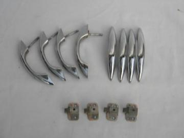 lot of deco chrome cabinet handles push button latches, vintage hardware