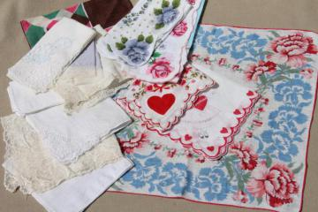 lot of fancy vintage cotton hankies, Valentine hearts, flower prints, white lace