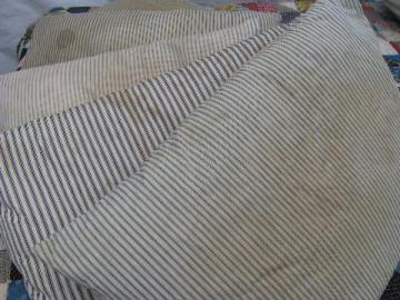 lot of five primitive old feather pillows, vintage blue stripe ticking