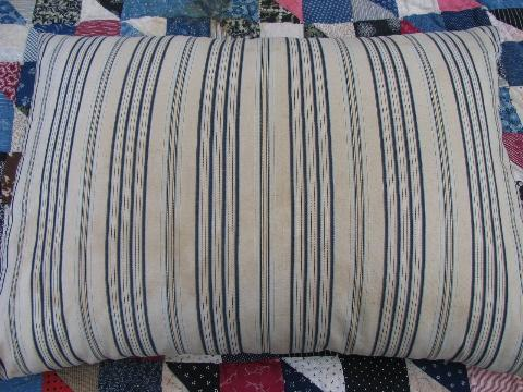 lot of four primitive old feather pillows, vintage wide stripe ticking