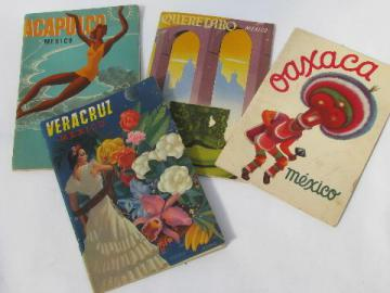 lot of mid-century vintage Mexico tour and travel guides w/litho covers