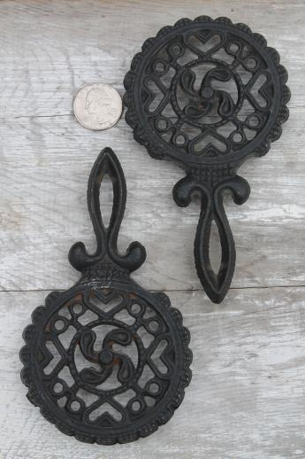 lot of mini cast iron trivets, vintage kitchen trivet set made in Japan