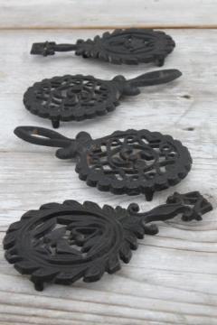 lot of mini cast iron trivets, vintage kitchen trivet set made in Japan