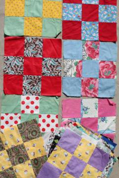 lot of nine-patch patchwork quilt blocks, vintage cotton fabric quilt top blocks hand-stitched