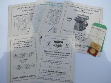 lot of old 1950 gas engine manuals, part lists, drawings etc.