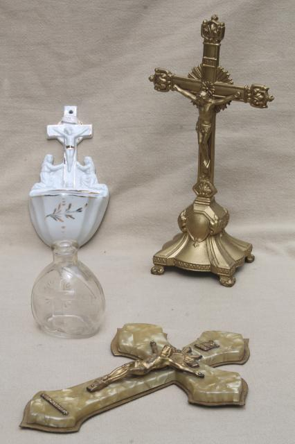 Lot Of Old Catholic Religious Pieces Wall Hanging Cross