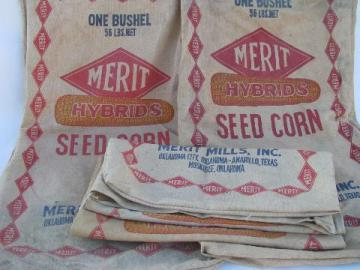 lot of old Merit advertising seed corn bags, vintage cotton sacks