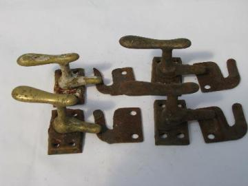 lot of old antique architectural casement window or shutter latches, brass and iron